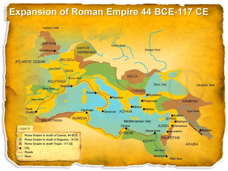 Worksheet. Editable PowerPoint Template  Expansion of Roman Empire Map 44BCE