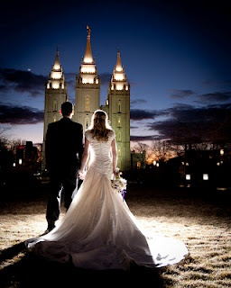 This is the most beautiful wedding picture!  Love that they are facing the temple and eternity together!