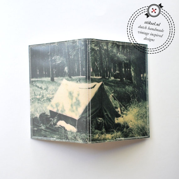 Passport Cover - vintage army tent camping
