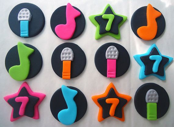 Edible Cupcake Decorations  Karaoke Party  by CakesAndKids on Etsy, $15.95