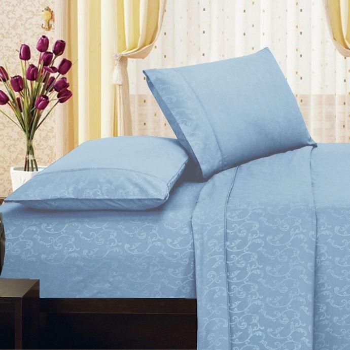 Elegant Comfort Floral Embossed Sheet Set Bed Bath Beyond