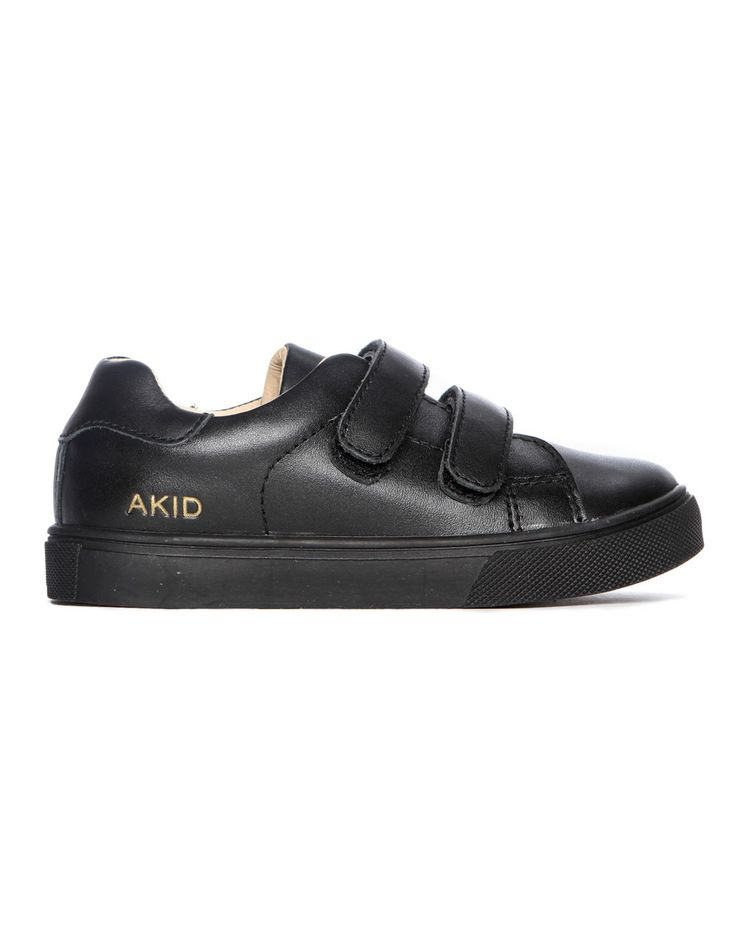 Akid Axel Velcro Leather Trainer Black | Accent Clothing