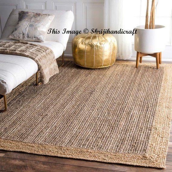 Rug Indian Braided Floor Rug Handmade Jute Rug Natural