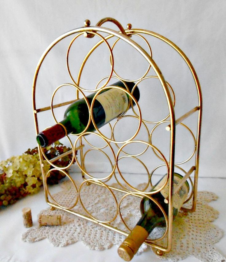 Vintage Wine Rack, Gold Metal, 9 Bottle Wine Holder, Brass Wire Wine Rack, Wine…