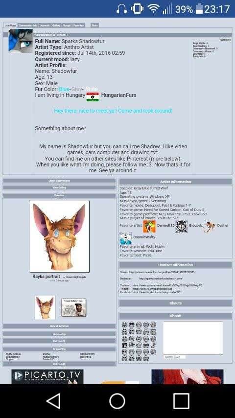 Hey guys and girls! When you have a Furaffinity you can find me in here :3 Thats all... Buh-Bye!