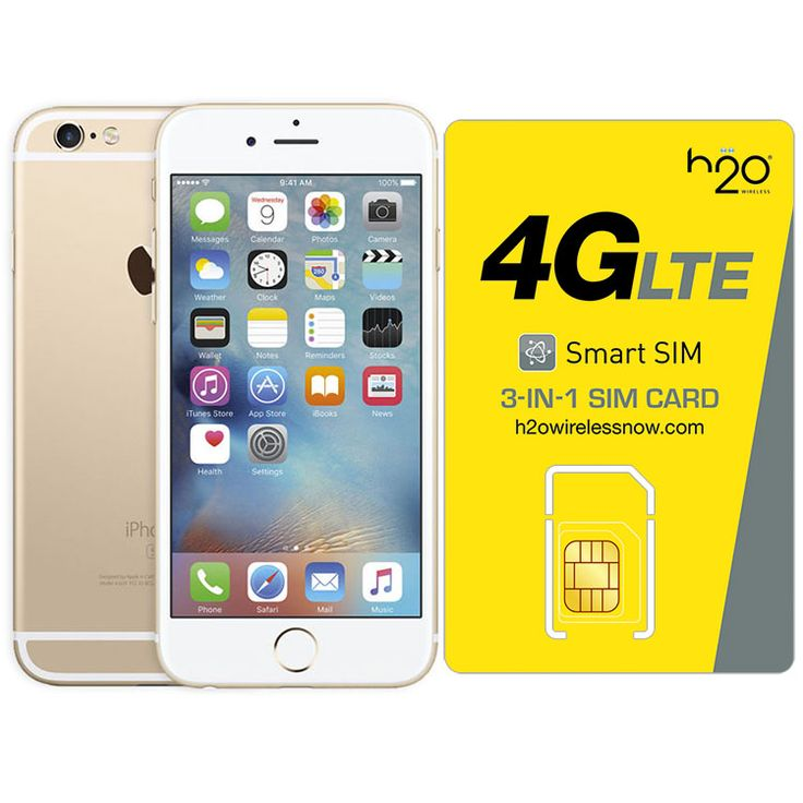 Refurbished iPhone 6 Plus Gold AT&T 128GB & H20 4G LTE SIM Card (1GB Data Included)