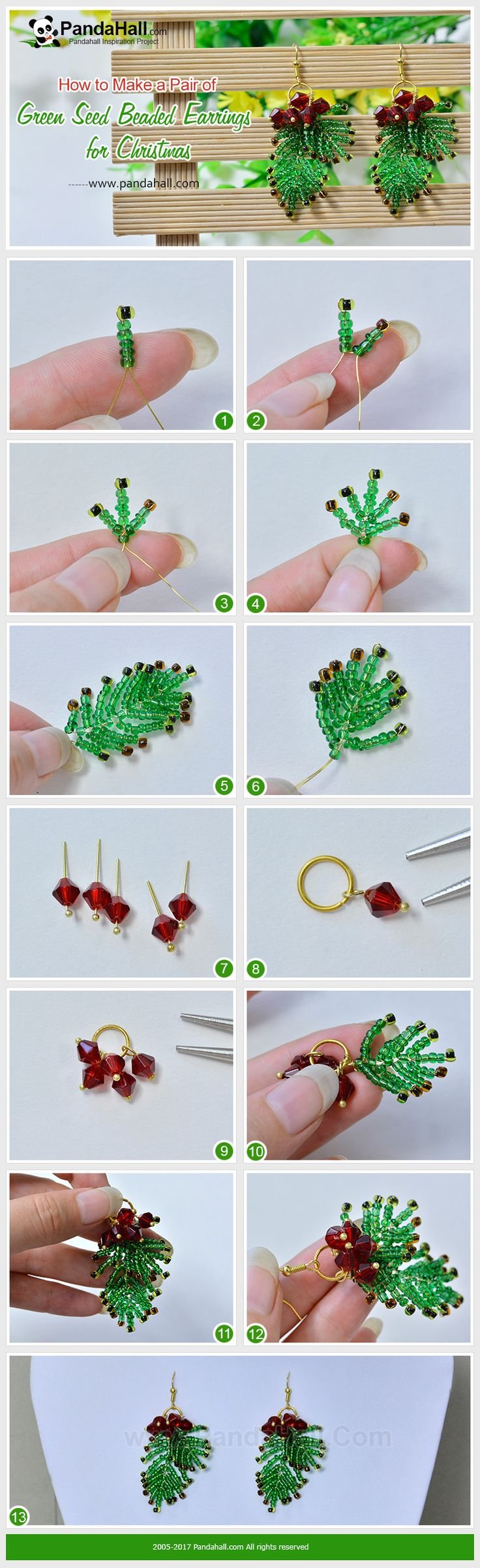 PandaHall Christmas Craft-----Green Seed Beaded Earrings for Christmas Are you looking for a pair of earrings to be worn during Christmas? Maybe you can try today's green seed bead earrings. By weaving seed beads in a unique way, we can create a seed bead