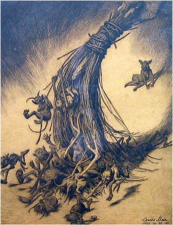 """Kosten (Troldskabet fejes ud)"" (The broom (the Trolls being swept out) - Louis Moe"