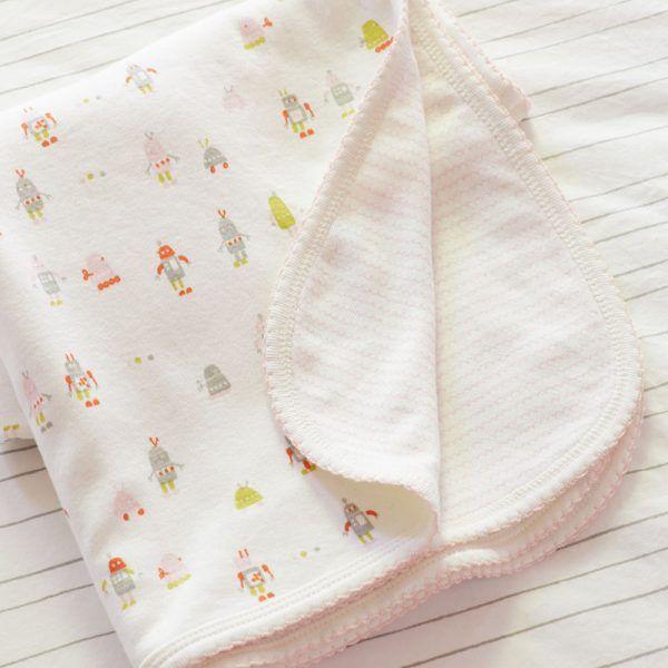 Baby Blanket Pink Robot | Little Auggie