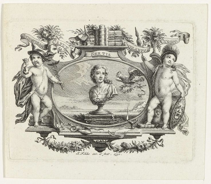 Simon Fokke | Cartouche met vrouwenbuste, Simon Fokke, 1750 | In een cartouche staat binnen een ovaal een gebeeldhouwde vrouwenbuste met een zespuntige ster op haar borst. Een haan vliegt met een lauwerkrans en een ster tussen zijn klauwen op de buste af. Het ovaal wordt geflankeerd door twee putti die verkleed zijn als Mercurius en Minerva, onderaan liggen een spiegel, een slang en een olielamp. Bovenop de cartouche staat een plank met boeken en een banderol met de woorden: Indefessa Caput…
