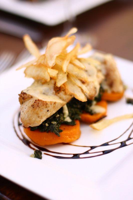Chicken, butternut, spinach and buerre blanc