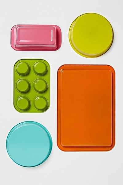 colorful bakeware set - a fun and functional gift for someone who just moved or a recent college graduate