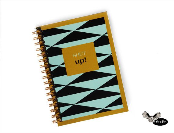 Notebook with geometric pattern in triangle gold frame by Sloshe, $4.50