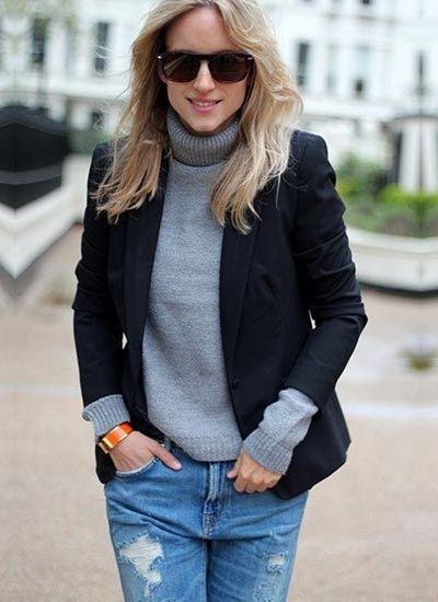 黒ジャケット×グレータートルネックセーターのコーデ(レディース)海外スナップ | MILANDA