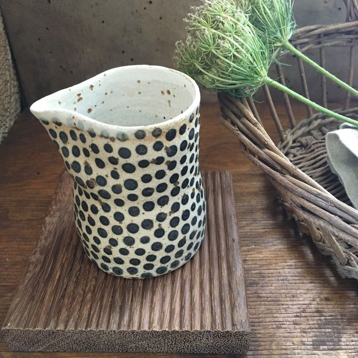 Happy Wednesday, little milk pitcher with black dots, size: height: 3.5 inches…