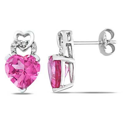 8.0mm Heart-Shaped Lab-Created Pink Sapphire and Diamond Accent Earrings in Sterling Silver