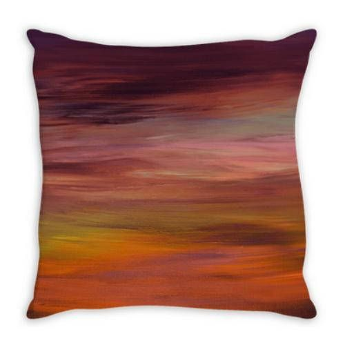 LONG GOODBYE 4 Ombre Sunset Suede Throw Pillow Cushion Cover, #ombre #ombredecor #colorfulpillow #homedecor #decor ebiemporium #decorative #cushion #throwpillow #stripes #sunset #autumndecor #warmcolors #purple #orange #modernhome #ombredecor