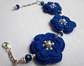 Bridal floral bracelet, blue flower bracelets, unique idea for mother of the groom gift, friend's birthday, sorority party favor