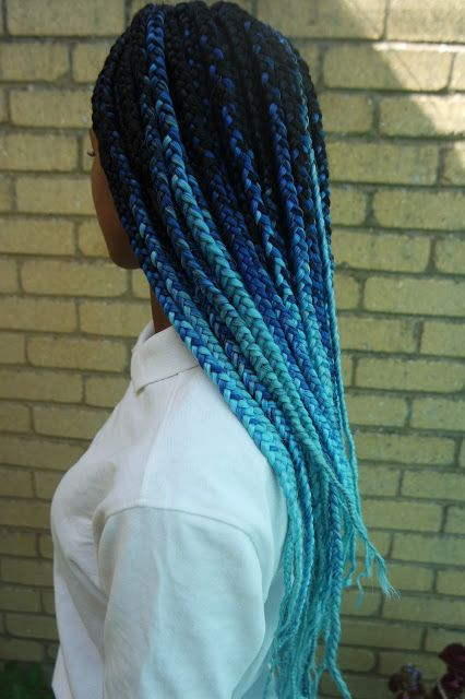 OfficialTashika | Black, Blue and Aqua Ombre Box Braids