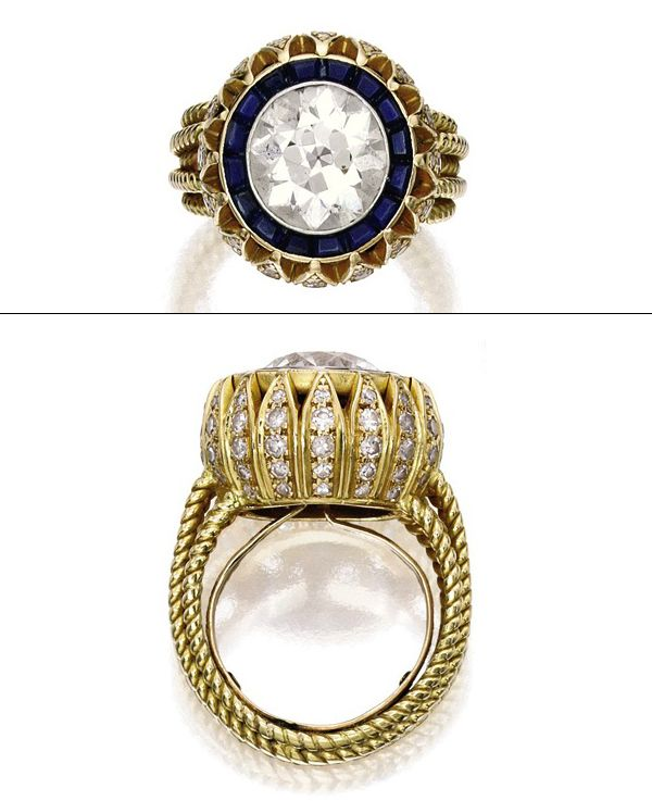 OLSENS ANONYMOUS MARY KATE OLSEN VINTAGE CARTIER ENGAGEMENT RING DETAILS FOUR CARATS DIAMONDS SAPPHIRES FASHION STYLE BLOG ENGAGED OLIVIER S...