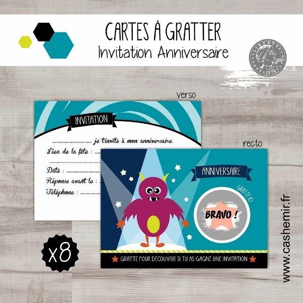 Cartes invitation anniversaire enfant garçon par lot de 8, cartes à gratter monstre - réf.4 : Cartes par cashemir