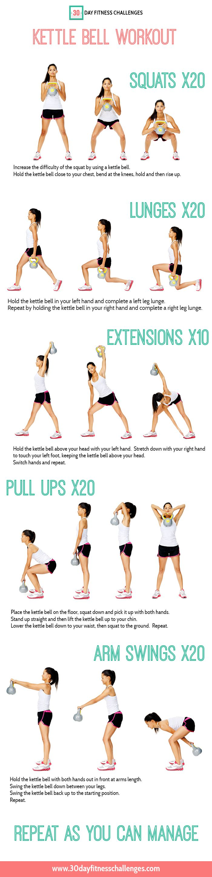Kettlebell Exercise! Do This 2x a day with 30 minutes of cardio for a month to lose the weight and tone at the same time.