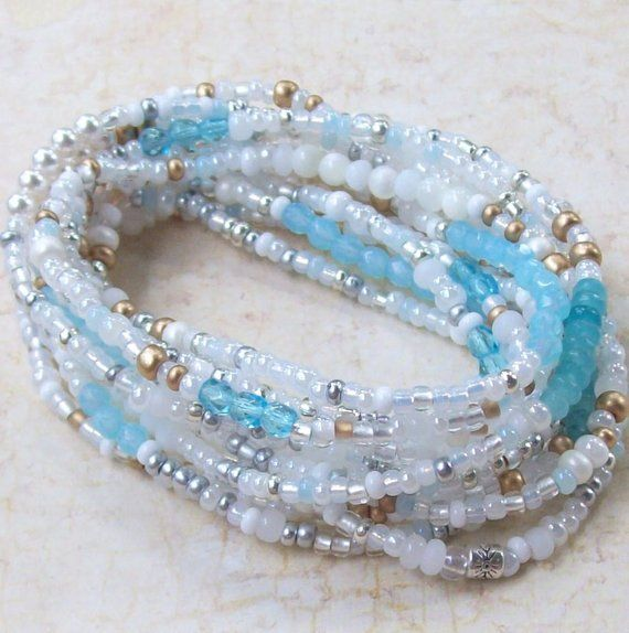 Glass Beads Gold Filled Ready to Ship Bead Necklace Extra Long Wrap Handmade Gold Beads