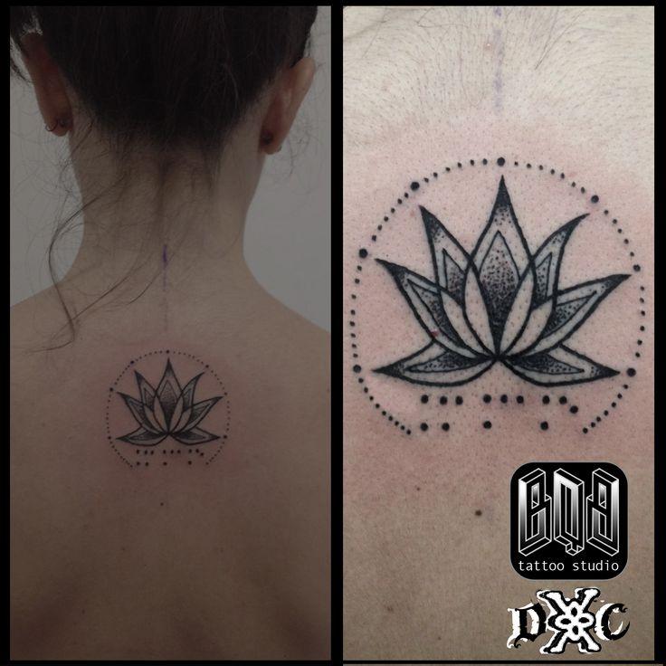 Flor, loto, flower, braille, tattoo, dotwork,, mystic
