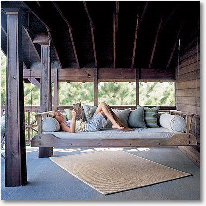 In love...Swing bed - omg, I love this.  First I need my wrap around porch