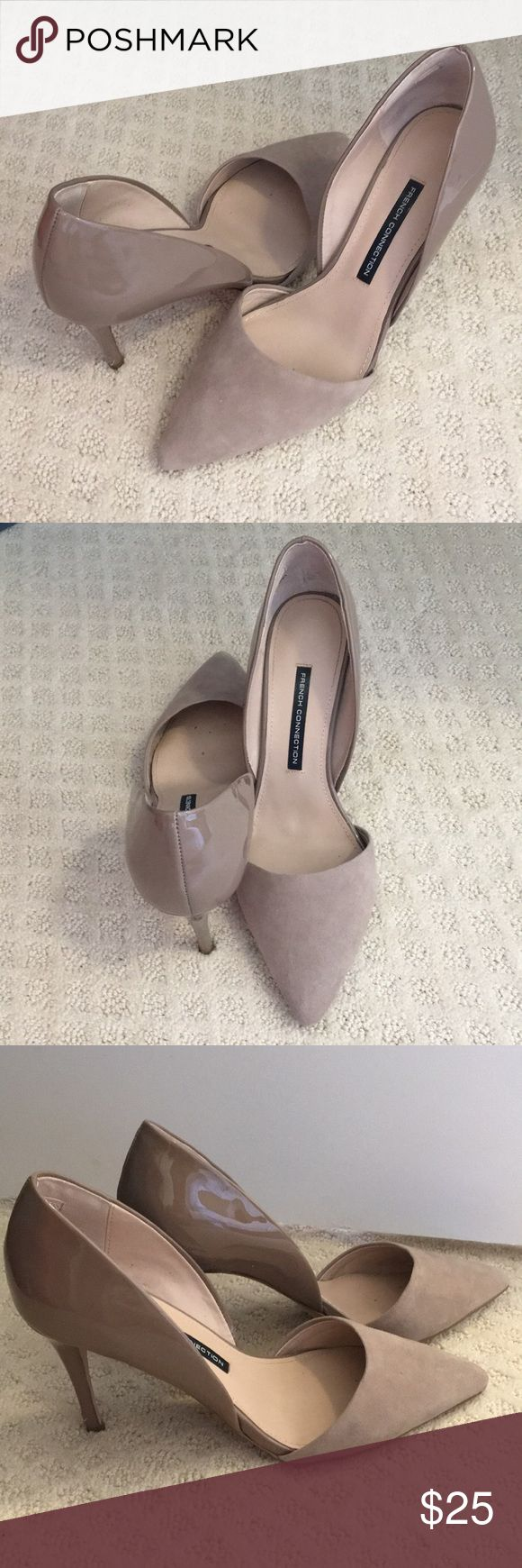 """French Connection D'Orsay nude pumps French Connection D'Orsay nude pumps, suede almond toe, patent heel, 3.5"""" covered heel, lightly worn French Connection Shoes Heels"""