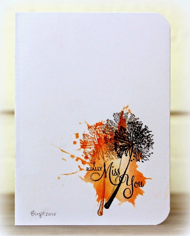 Rapport från ett skrivbord— a one-layer-card and to include Splatters! She used a stencil for the splatter and stamps from Penny Black: Allegro Eloquence