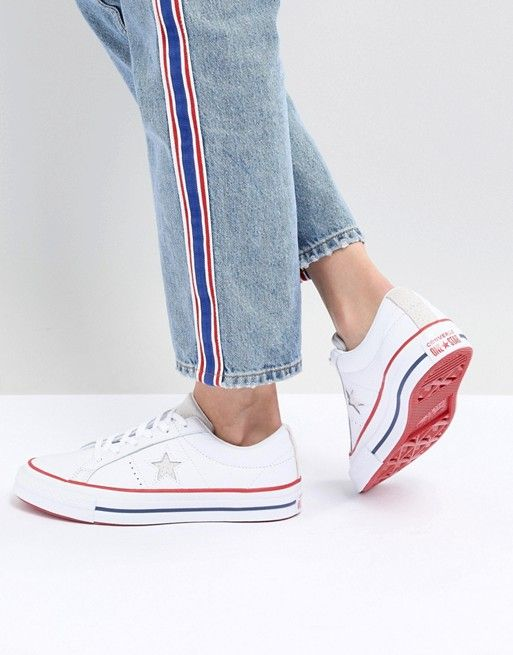 Converse One Star Leather Sneakers In White | July 4th