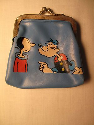 Very RARE Vintage Childs Popeye and Olive Oyl Purse 50's 60'S