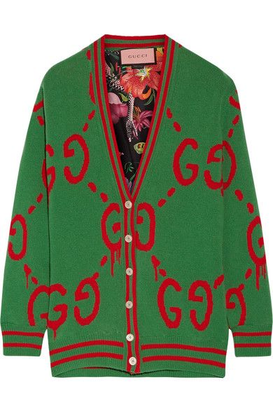 Gucci - Reversible Wool Jacquard-knit And Printed Silk-twill Cardigan - Green - xx large