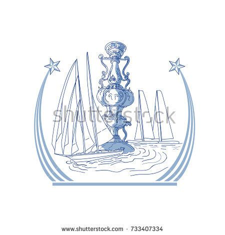 Drawing sketch style illustration of three Yacht Club match racing sailing in background and meteor comet star with tail on isolated background.  #yatchclub #drawing #illustration
