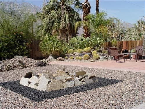 This former lawn was replaced by well-defined, modern squares of rock. See more lawnless landscaping ideas here: http://www.landscapingnetwork.com/landscaping-ideas/lawnless.html Photo credit: Maureen Gilmer - Morongo Valley, CA.