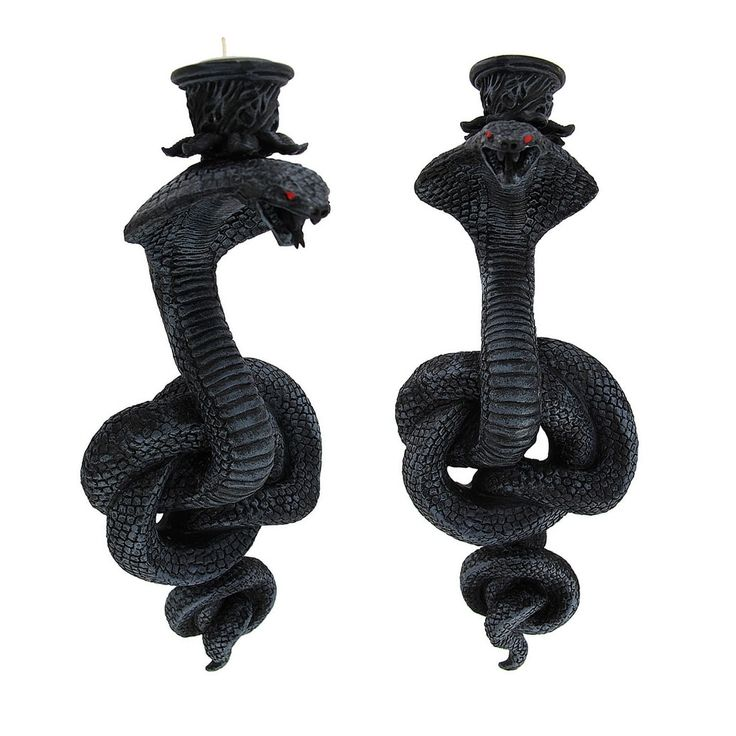 Pair of Coiled Cobra Wall Mounted Candle Holders - Black (Resin)