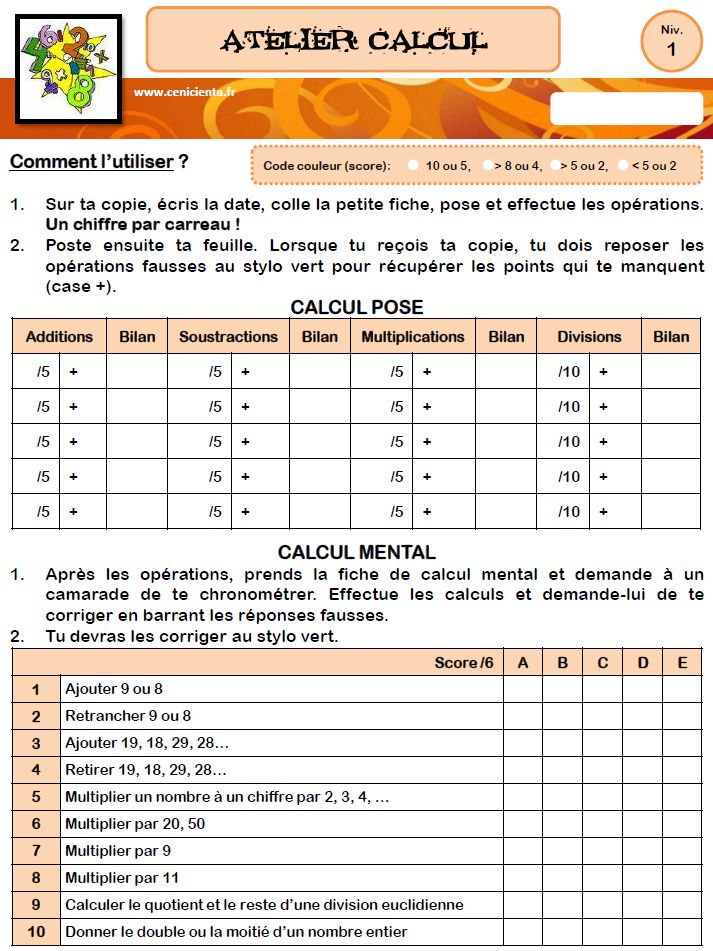 CM ATeliers calcul posé/mental Cenicienta au CM