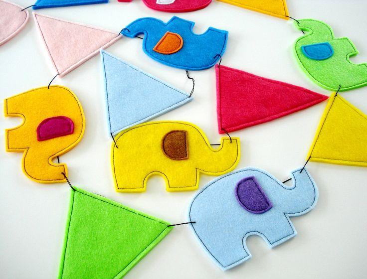 Elephant & Pennant BannerPdf Epattern, Felt Elephant, Sewing Pattern, Pennant Banners, Elephant Buntings, Elephant Pennant, Buntings Pattern, Banners Sewing, Buntings Banners