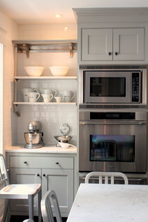 Kitchen with grey cabinets -- The Inn at Little Pond Farm -- photo Kelly from by Talk of the House
