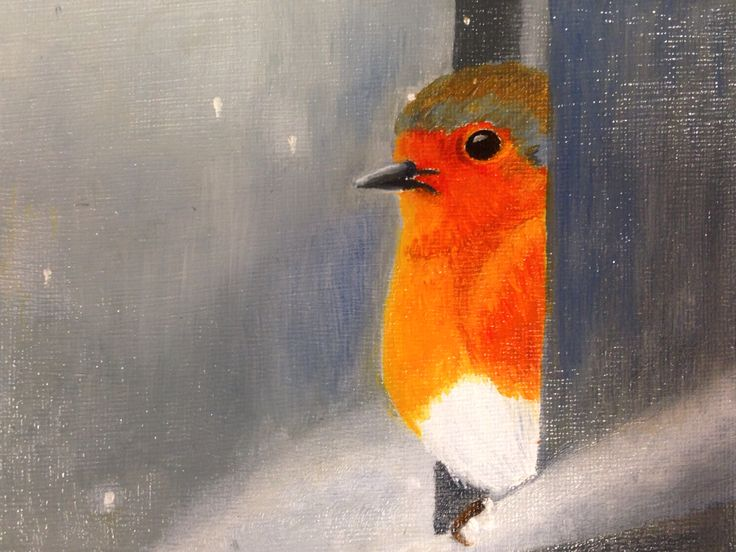 Robin taking shelter.  Oil on canvas.