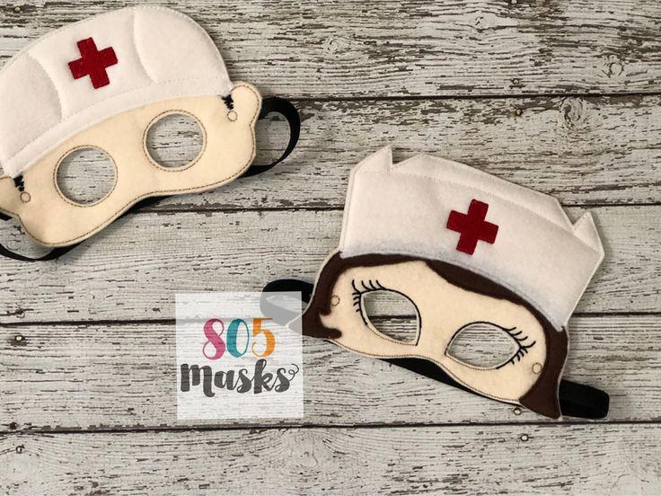 Nurse Mask Nursing Mask Halloween Felt Mask Nurse Costume Community Helper Costume Dress up Kids Mask Pretend Play Party Favor by 805Masks on Etsy