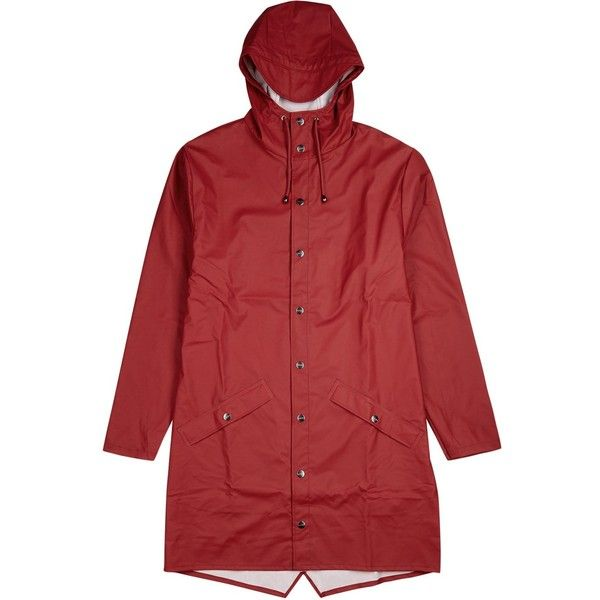 Rains Red Rubberised Raincoat - Size M/L (1 005 SEK) ❤ liked on Polyvore featuring outerwear, coats, mac coat, red coat, rains coat, rains raincoat and red rain coat