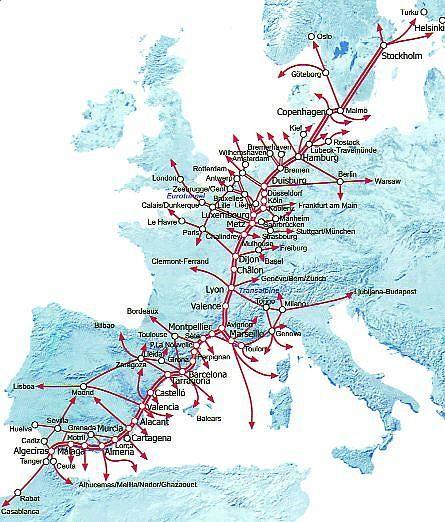 Diseño inicial del Eje principal de comunicaciones y transporte europeo de mercancias con África.