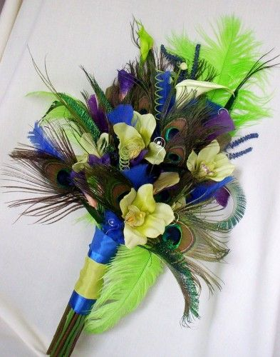 silk wedding bouquets with peacock feathers | Wedding Peacock bouquet Royal blue Lime green Purple | AmoreBride ...