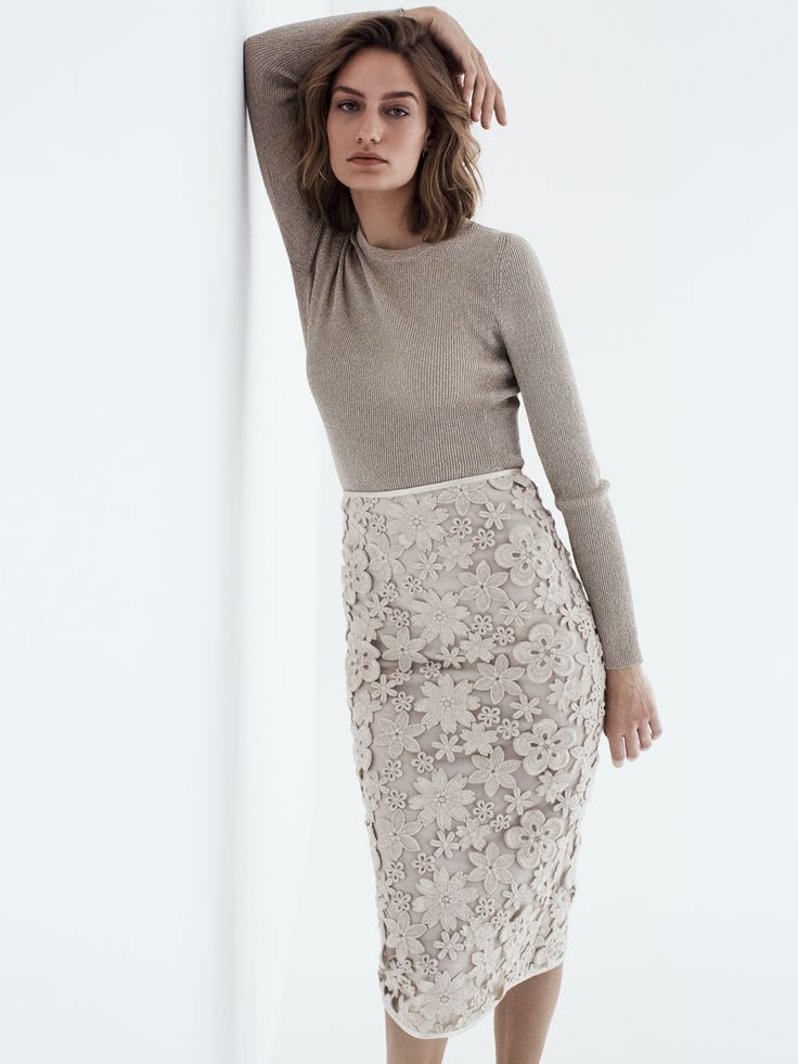 Olivia - wool flowers created using three-dimensional embroidery, makes this pencil skirt a key wardrobe staple - Swiss made