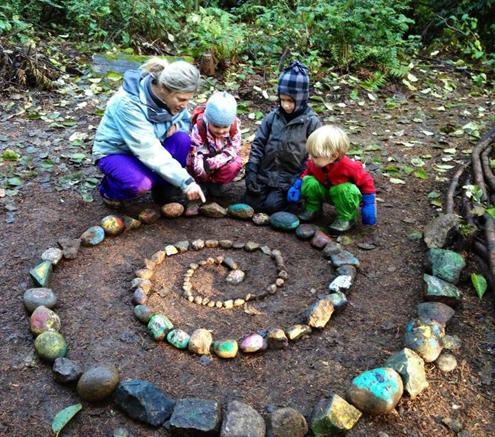 """Love this 'Solstice Spiral' made out of painted rocks at Forest Kindergarten Teacher Network ("""",)"""