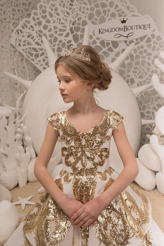 8190e8e9db Lace Ivory and Gold Flower Girl Dress - Birthday Bridesmaid Wedding ...