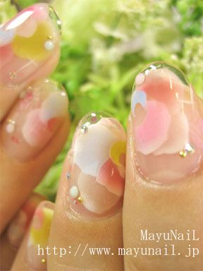 Clear gel nail art... I can't decide, but I think I like it.