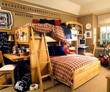 boys room ideas for separate work/study stations.Bunk Bed